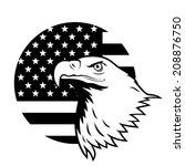 american eagle against usa flag ... | Shutterstock .eps vector #208876750