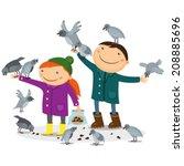 Boy And Girl Feeding Birds And...