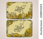 set of two floral decorative... | Shutterstock .eps vector #208892053