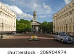 Small photo of LONDON, UK - JUNE 7, 2014: York Gate near Regent's Park with the parish church of St Marylebone. The Georgian church was where literary figures Robert Browning and Elizabeth Barrett were married.