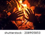 the camping fire on night | Shutterstock . vector #208905853