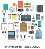 icon set of office equipment ... | Shutterstock .eps vector #208920523