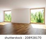 empty room with windows | Shutterstock . vector #208928170