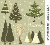 winter card with trees varied | Shutterstock .eps vector #208931374