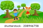 children play the green lawn ... | Shutterstock .eps vector #208946758