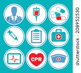 medical vector icon set in blue ... | Shutterstock .eps vector #208952530