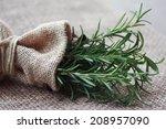 rosemary bunch nestled inside a ... | Shutterstock . vector #208957090