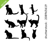 Stock vector cat silhouettes vector 208965619
