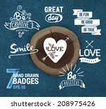 hand drawn style logos and... | Shutterstock .eps vector #208975426