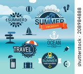 summer seaside vacation icons.... | Shutterstock .eps vector #208984888