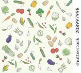 vegetables seamless pattern | Shutterstock .eps vector #208997998