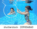 happy active kids swim in pool... | Shutterstock . vector #209006860