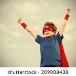 funny little power super hero... | Shutterstock . vector #209008438