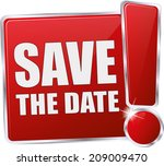 red glossy save the date sign | Shutterstock .eps vector #209009470
