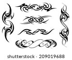 set of tribal tattoo designs