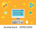 learning on a computer   Shutterstock .eps vector #209021896