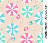 umbrellas on the beach   summer ... | Shutterstock .eps vector #209029534