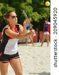 Small photo of MOSCOW, RUSSIA - JULY 19, 2014: Dorothee Berreth of Germany in the match against Lithuania during ITF Beach Tennis World Team Championship. Germany won 3-0