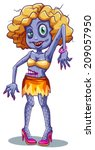 lllustration of a scary female... | Shutterstock .eps vector #209057950