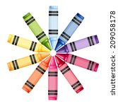colored crayons in a circle.... | Shutterstock .eps vector #209058178