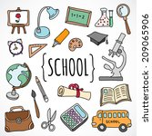 vector hand drawn school and... | Shutterstock .eps vector #209065906