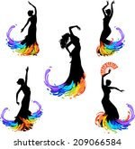 five silhouettes of dancer | Shutterstock .eps vector #209066584
