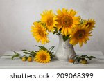 Bouquet  Of Sunflowers In Old...