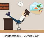 businessman relaxing  dreaming  ... | Shutterstock .eps vector #209069134