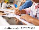 hands of smart guy making... | Shutterstock . vector #209070598