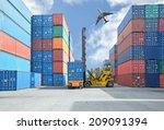crane lifter handling container ...   Shutterstock . vector #209091394
