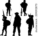 silhouette of soldier with... | Shutterstock .eps vector #209092873