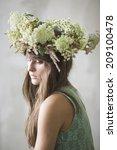 beautiful brunette girl with a... | Shutterstock . vector #209100478
