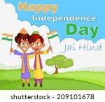 indian boy hoisting flag of... | Shutterstock .eps vector #209101678