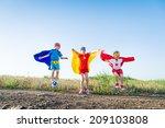 children acting like a superhero | Shutterstock . vector #209103808