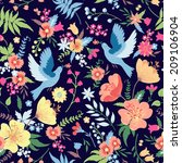floral vector seamless ... | Shutterstock .eps vector #209106904