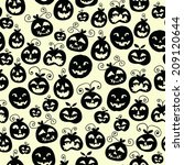 hand drawn halloween seamless... | Shutterstock .eps vector #209120644