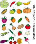 set of vegetables  fruits and... | Shutterstock .eps vector #209122786