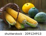Fresh Corns With  Pumpkins And...