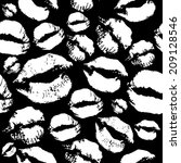 woman lips pattern on black... | Shutterstock . vector #209128546
