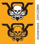 V8 engine emblem with skull and crossed pistons. Vector illustration includes clean and grunge versions.