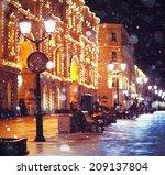 city pedestrian street night... | Shutterstock . vector #209137804