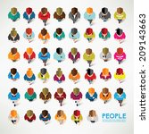 a big group of top view people... | Shutterstock .eps vector #209143663