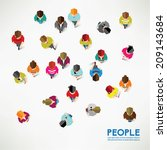 a big group of top view people... | Shutterstock .eps vector #209143684