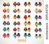a big group of top view people... | Shutterstock .eps vector #209143720