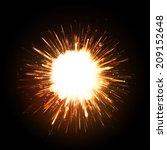 powerful explosion on black... | Shutterstock .eps vector #209152648