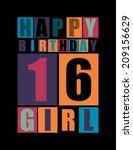 retro happy birthday card.... | Shutterstock .eps vector #209156629
