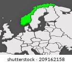 map of worlds. norway. 3d | Shutterstock . vector #209162158