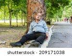 a drunk fat bald head asian man ... | Shutterstock . vector #209171038