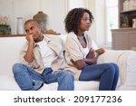 unhappy couple arguing on the... | Shutterstock . vector #209177236