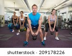 muscular instructor leading... | Shutterstock . vector #209178226